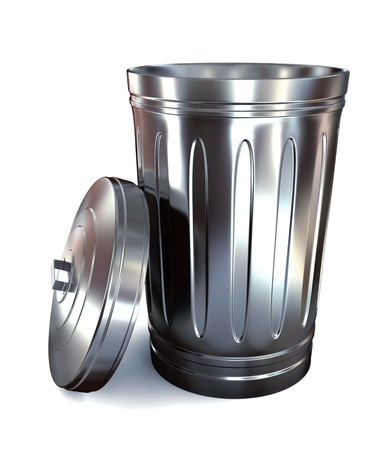 wastepaper basket: Steel trash can on white background