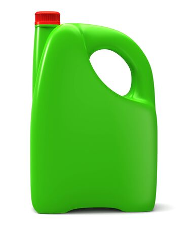 Green plastic canister - on white background photo