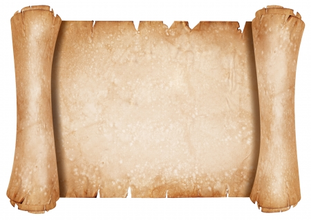 papyrus: Old parchment paper scroll