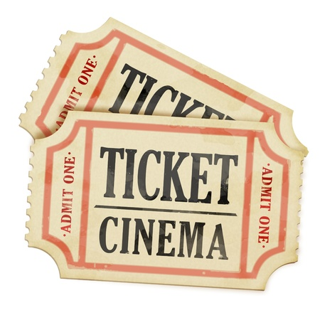 Movie theater: Vintage paper tickets on white background