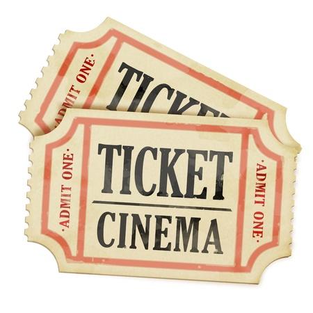 movie theatre: Vintage paper tickets on white background