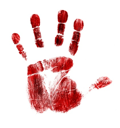 Bloody handprint isolated on white background  photo