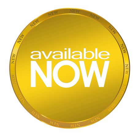 Available now golden sticker on white background photo