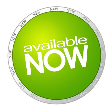 Available now - green sticker on white background photo