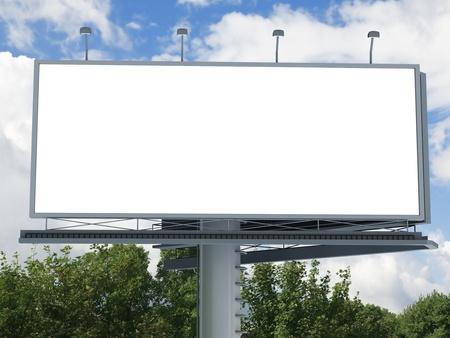 blank billboard: Billboard with empty screen, against blue cloudy sky