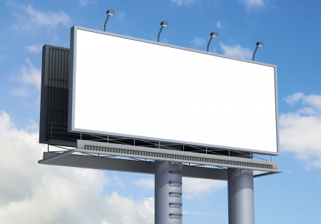 Billboard with empty screen, against blue cloudy sky Banco de Imagens - 14908818