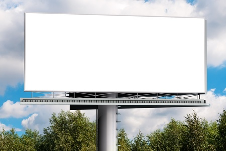Billboard with empty screen, against blue cloudy sky  photo