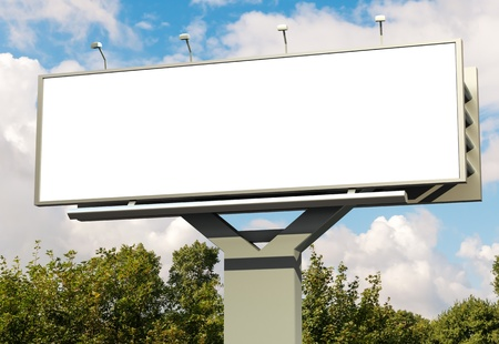 outdoor advertising: Billboard with empty screen, against blue cloudy sky