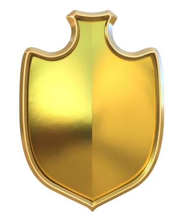 Golden shield - isolated on white background photo