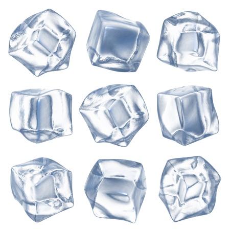 cubos de hielo: Cubos de hielo - aislado sobre fondo blanco