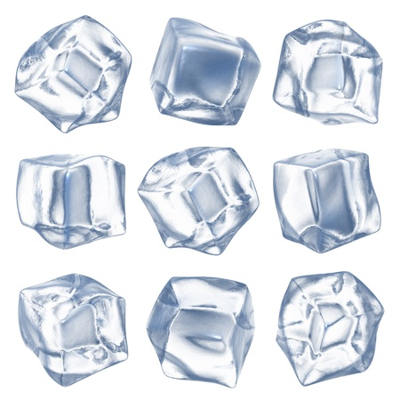 ice water: Ice cubes - isolated on white background