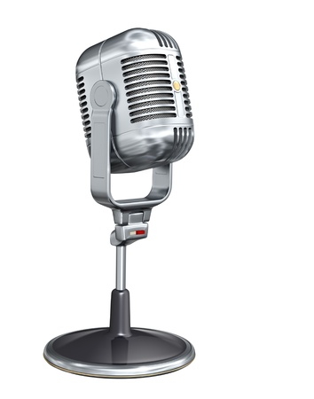 music instruments: Retro microphone - isolated on white background