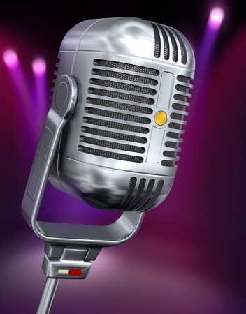 vintage microphone: Vintage microphone against the color background