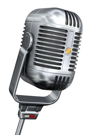 microfono antiguo: Vintage micr�fono - aislados en fondo blanco