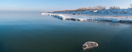groyne: Winter beach of Baltic sea  Kaliningrad region  Russia