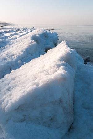 Ice-covered beach  Baltic sea  Kaliningrad region  Russia photo