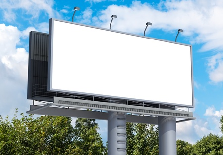 Billboard with empty screen, against blue cloudy sky Banco de Imagens - 15756648