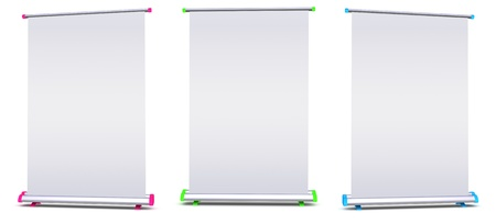 rollup: Blank roll-up banner display on white background