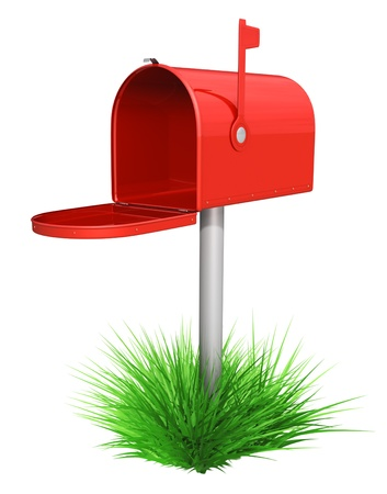 correspond: Empty red mailbox and green grass -  isolated over white