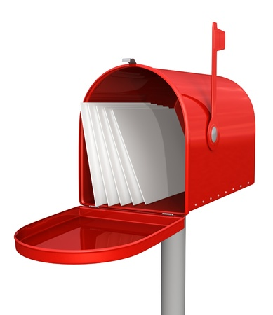 buzon: Buzón rojo clásico con el correo Foto de archivo