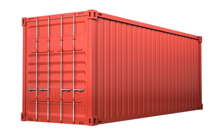 merchandize: Red cargo container - isolated on white background