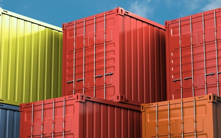Stacked color cargo container over blue sky photo
