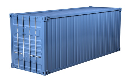 container port: Blue cargo container - isolated on white background