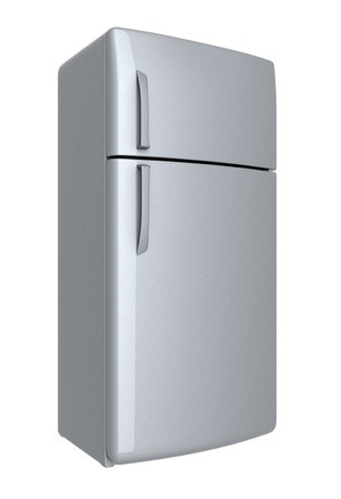 Modern refrigerator - isolated on white background photo