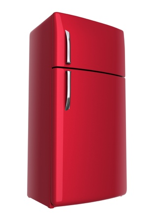 frig: Red refrigerator - isolated on white background