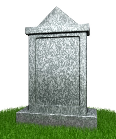 Blank gravestone with grass photo