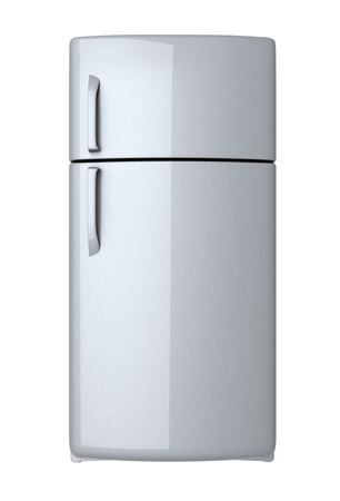 frigo: Moderne koelkast - geïsoleerd op witte achtergrond Stockfoto