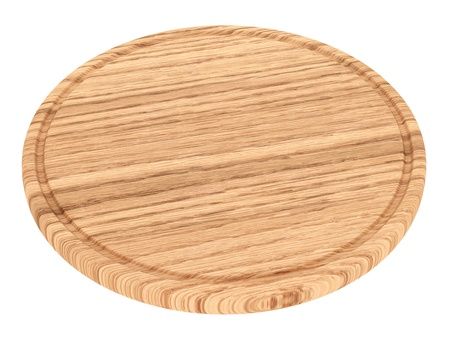 Wooden plate for meat and vegetable on white background
