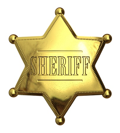 deputy sheriff: Golden sheriffs badge - isolated on white  Stock Photo