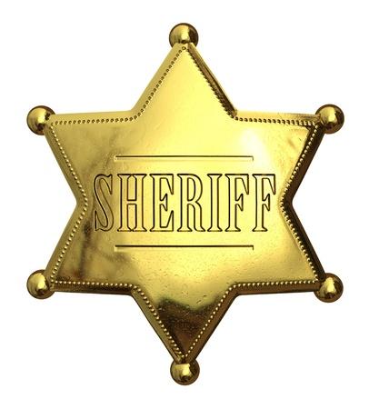 Golden sheriff's badge - isolated on white Banco de Imagens - 16081536