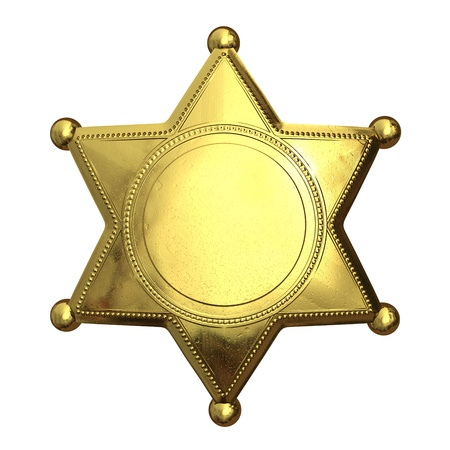 Golden sheriffs badge - isolated on white photo