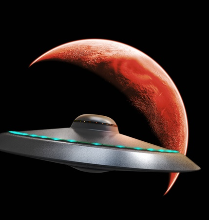 UFO flying to red planet Stock Photo - 16081540