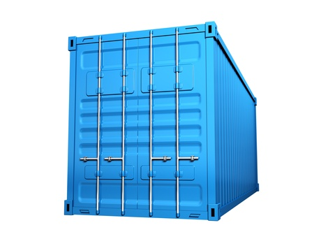 merchandize: Blue cargo container - isolated on white background
