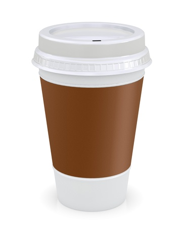 disposable cup: Plastic coffee cup template over white background