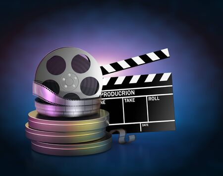 Illustration of movie film reels and cinema clapper Stock Photo