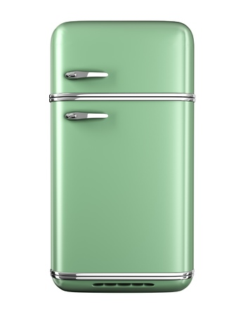 cooler: Retro refrigerator - isolated on white background