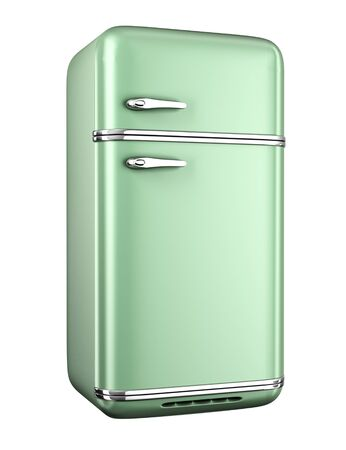 Retro refrigerator - isolated on white background  photo