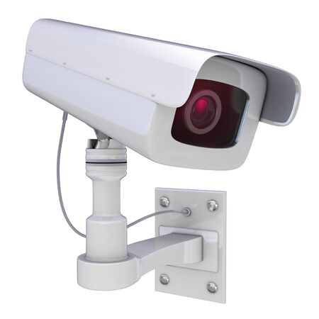 looking at camera: Security camera on a white background, 3D render