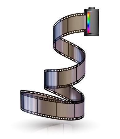 rollo pelicula: Tira de película con bote - aislados sobre fondos blancos
