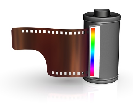 35 mm: Film strip with canister - isolated on white backgrounds