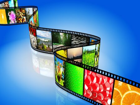 Film strip with colorful images on blue background photo