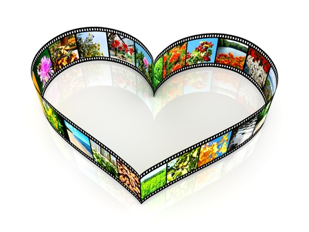 film tape: Heart shaped filmstrip - isolated on white backgrounds