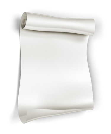 Paper scroll on white background, 3d rendering