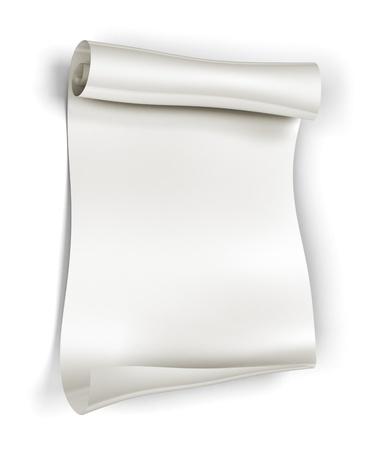 Rouleau de papier sur fond blanc, le rendu 3d