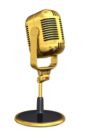 Retro microphone - isolated on white background  photo