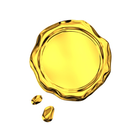 Golden seal wax - isolated on white background  photo
